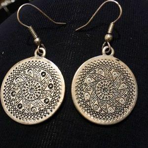 Boho gypsy silver fashion round ornate earrings